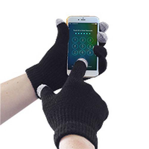 Pletené rukavica Touchscreen, čierna