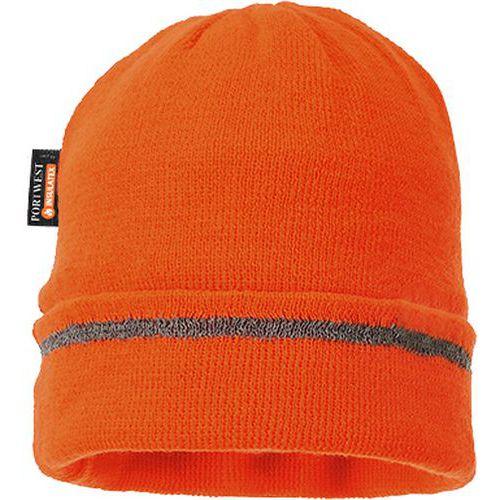 Thin čiapka  Insulatex lemovaná reflexným pásikom, oranžová