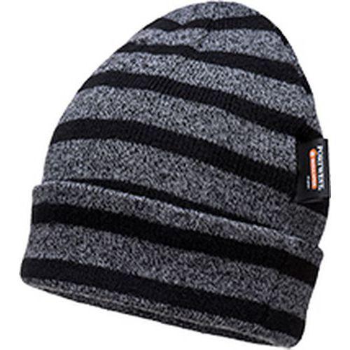 Pruhované zateplené čiapky, sivá/čierna