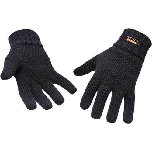 Pletené rukavice s podšívkou Insulatex, čierna