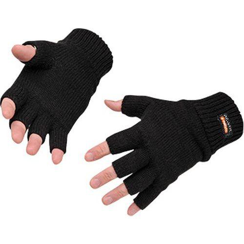Bezprstové pletené Insulatex rukavice, čierna
