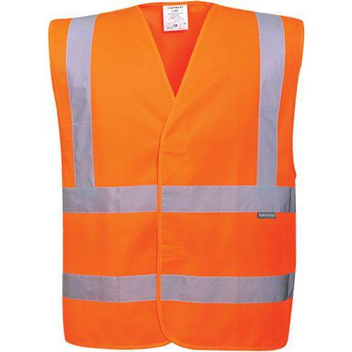 Reflexná vesta s dvomi horizontálnymi pruhmi, oranžová