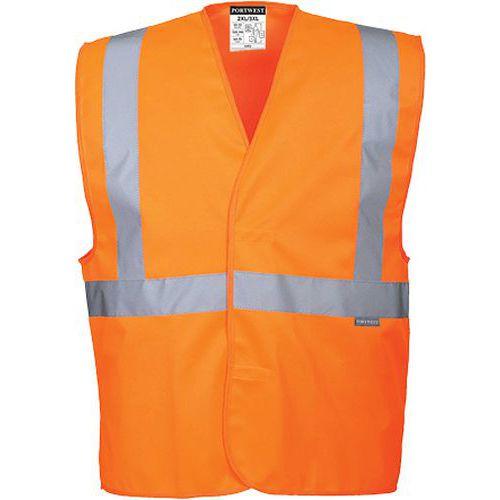 Reflexná vesta s jedným horizontálnym pruhom, oranžová