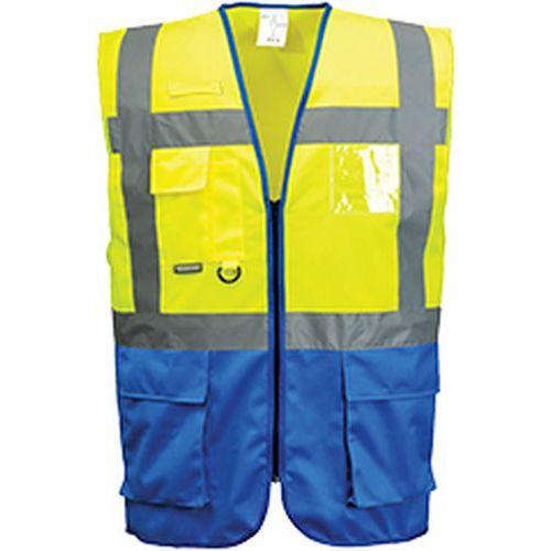 Reflexná vesta manažérska Warsaw, modrá/žltá