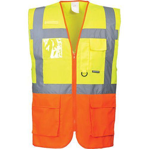 Reflexná vesta manažérska, oranžová/béžová