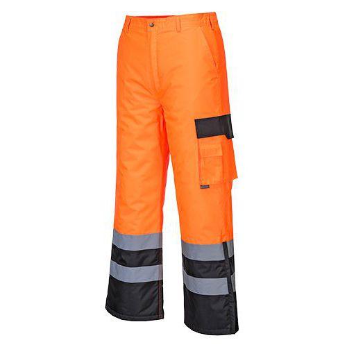 Nohavice Hi-Vis Contrast podšité, čierna/oranžová