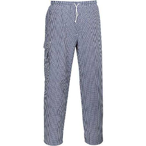 Nohavice kuchárske Chester, čierna/biela