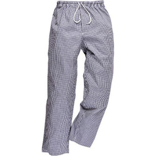 Nohavice kuchárske Bromley, biela/sivá