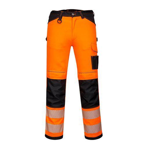PW3 Hi-Vis Dámske elastické pracovné nohavice, čierna/oranžová