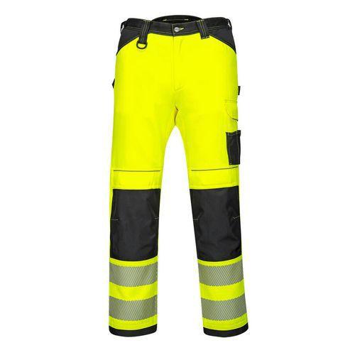 PW3 Hi-Vis Dámske elastické pracovné nohavice, čierna/žltá