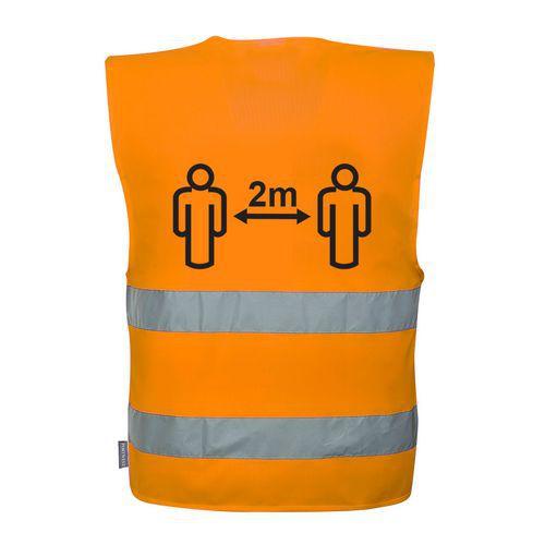 Hi-Vis vesta 2m sociálny odstup, oranžová